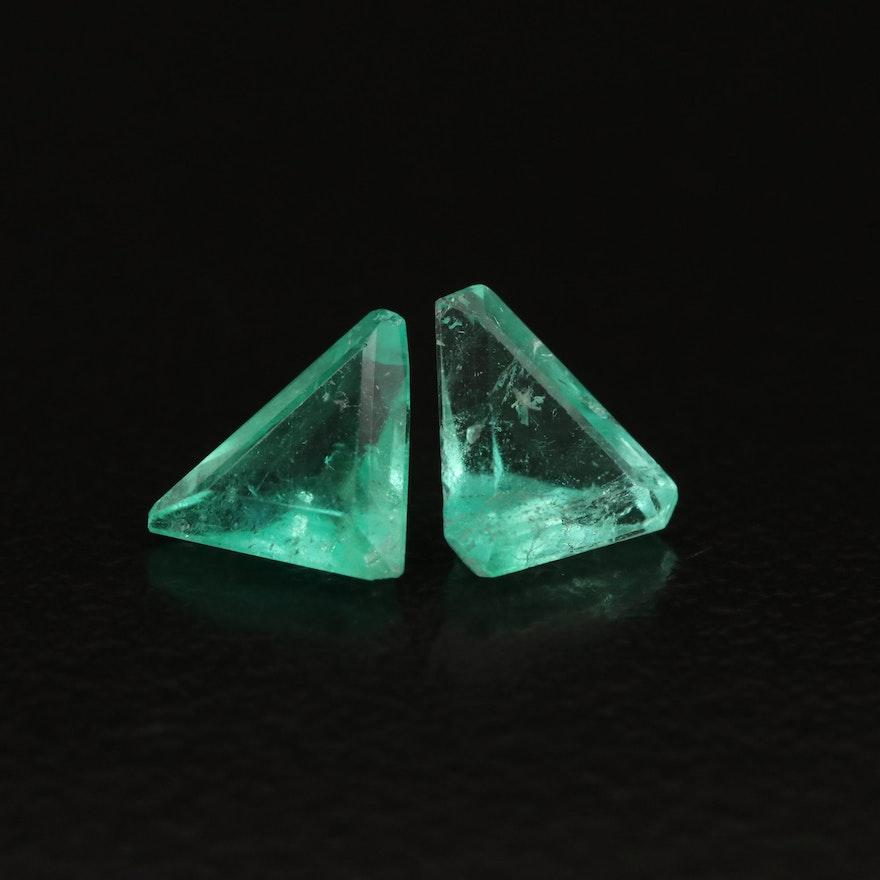 Loose 1.31 CTW Trillion Faceted Emeralds