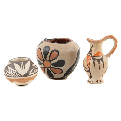 Stella Teller and Other Pueblo Polychrome Earthenware Vessels