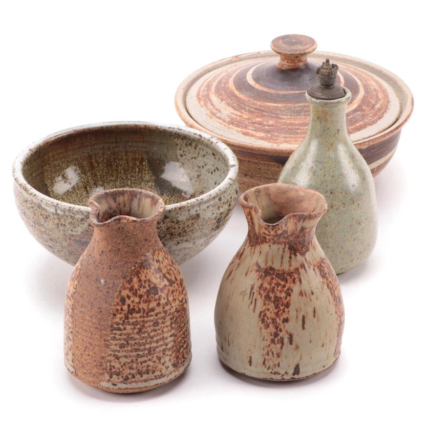 Signed Studio Art Pottery Pitchers, Vase, Bowl, and Lidded Vessel