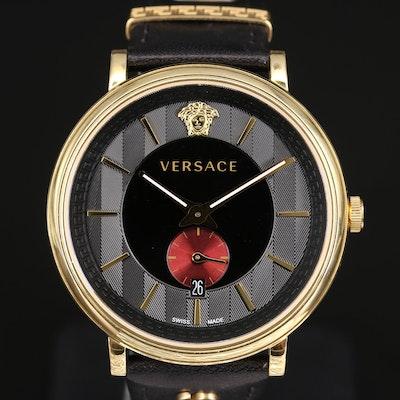 Versace V - Circle Gold Tone Quartz Wristwatch