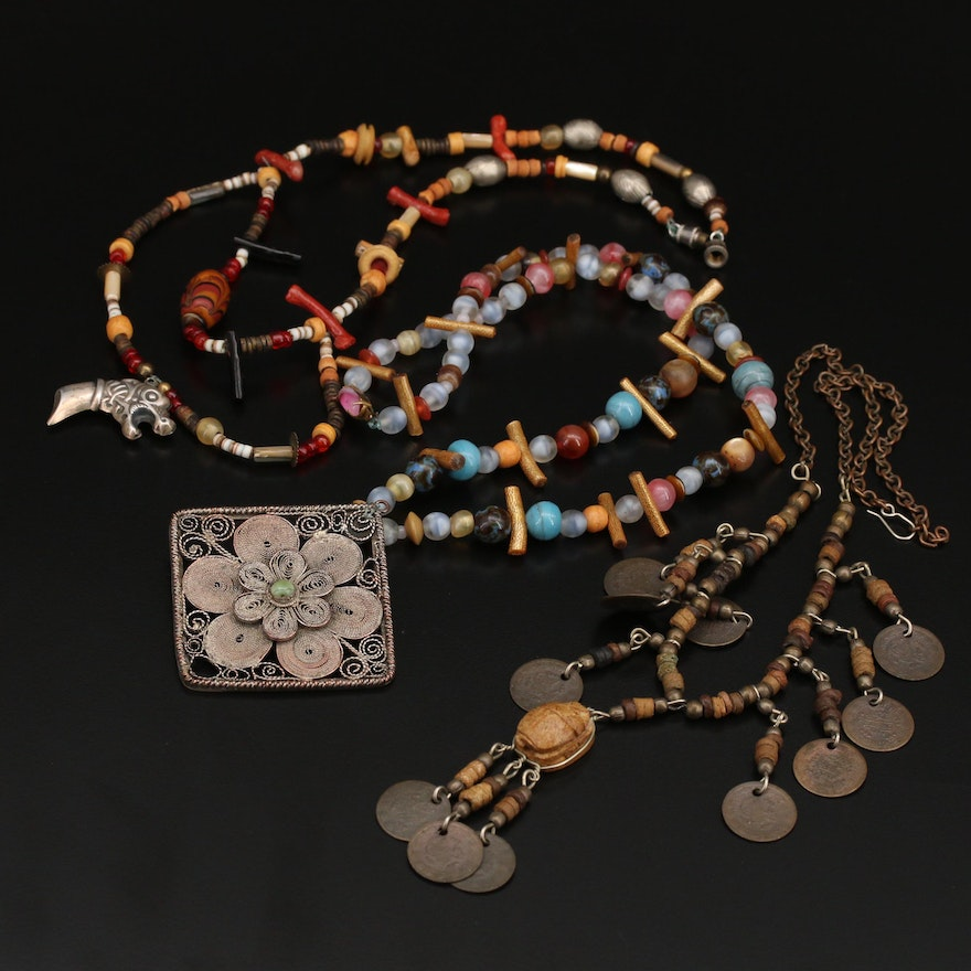 Compilation Necklaces Featuring Egyptian Scarab and 800 Silver Dragon Pendant