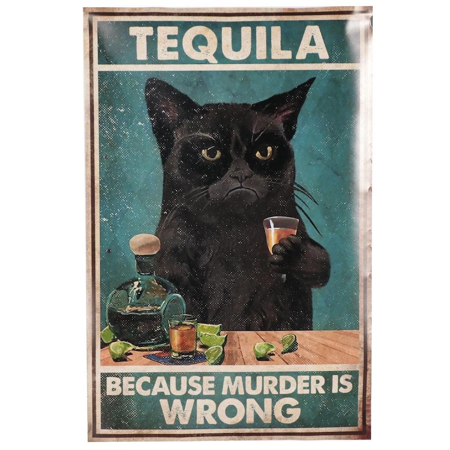 Giclée of Black Cat Drinking Tequila, 21st Century