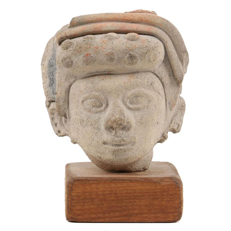 Pre-Columbian Manabi Style Earthenware Head, c. 1200 C.E.
