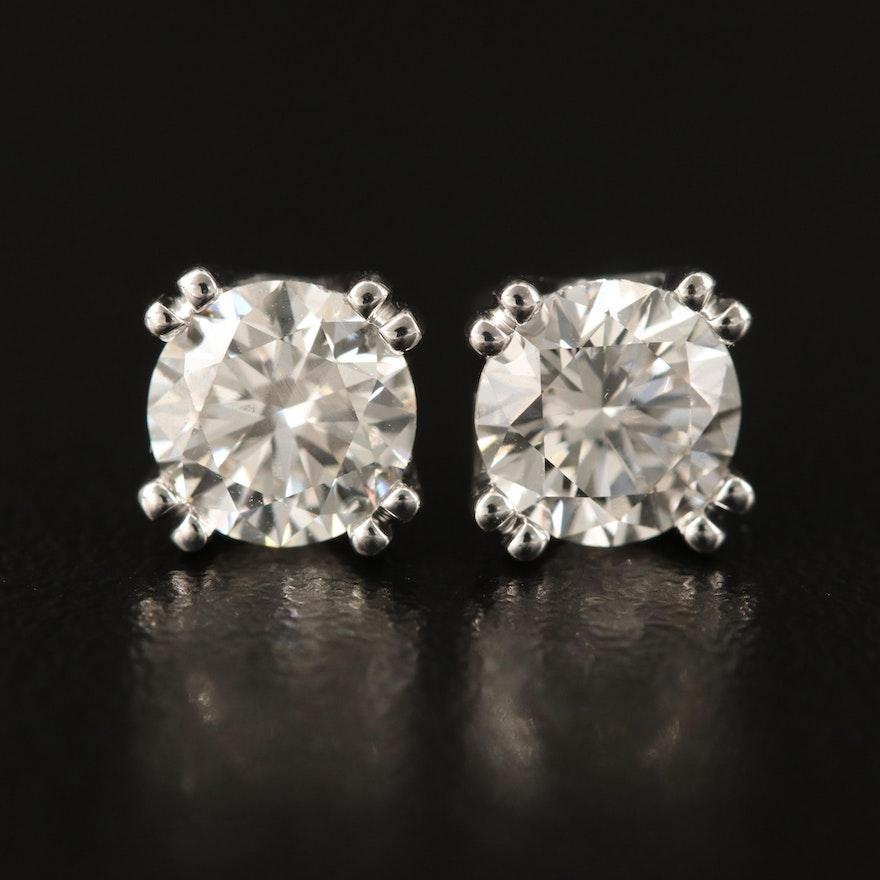 14K 2.00 CTW Solitaire Diamond Stud Earrings