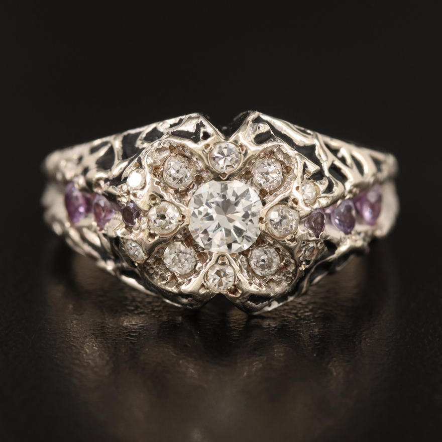 14K Diamond and Sapphire Ring with Biomorphic Detail