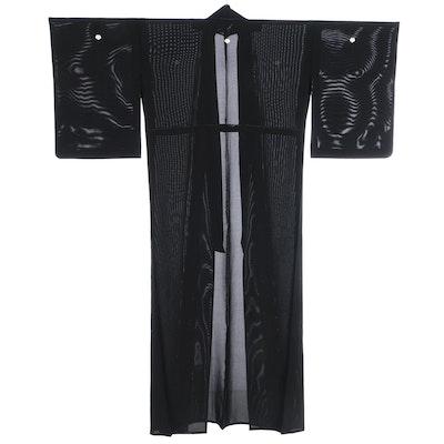 Ro Woven Five Mon Black Montsuki Natsu Kimono, Shōwa Period
