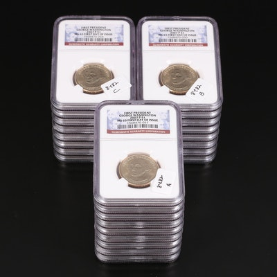Twenty-Five NGC Graded MS65 2007 Washington Presidential Dollars