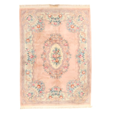8'11 x 13'1 Hand-Knotted Chinese Carved Pile Floral Room Sized Rug