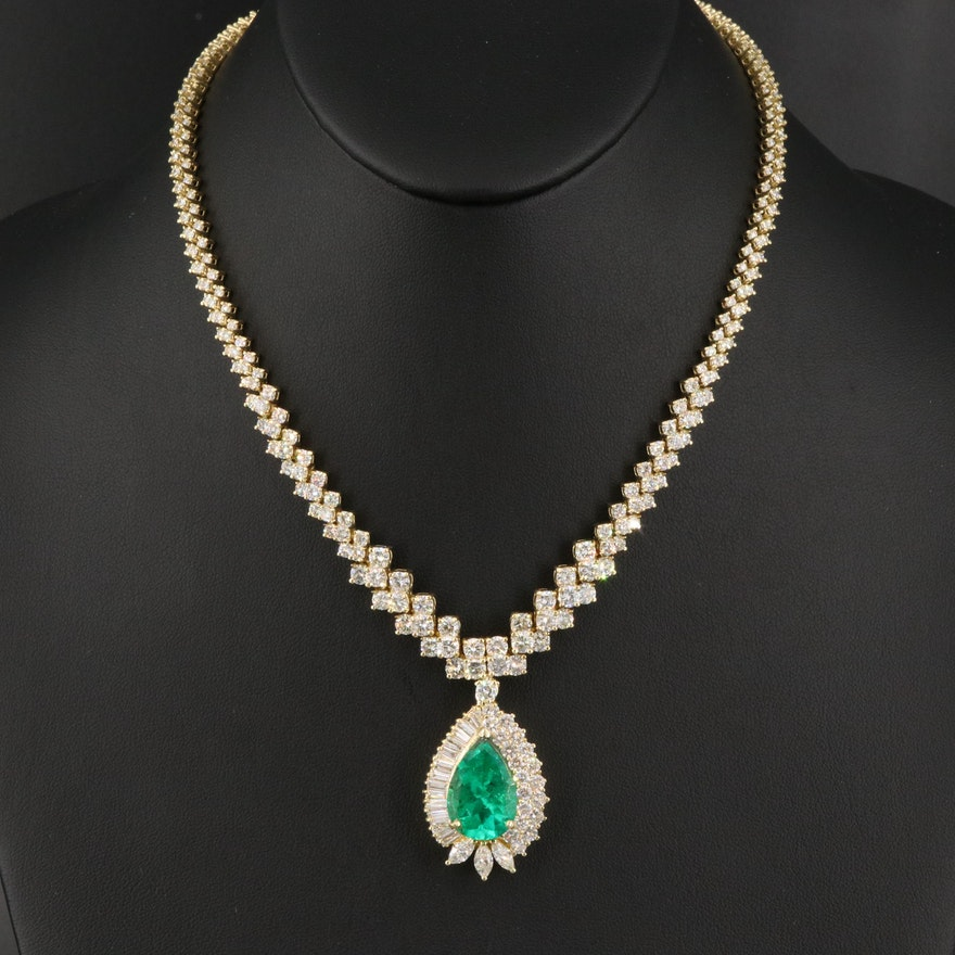 18K 10.68 CT Colombian Emerald and 20.74 CTW Diamond Necklace with GIA Report