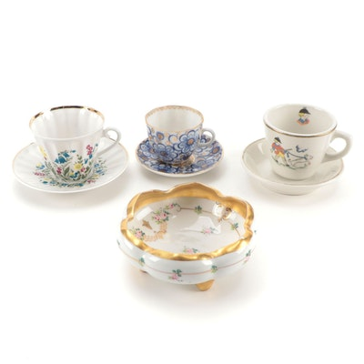 Lomonosov Porcelain Cups and Saucers with Other Porcelain and Ceramic Dishes