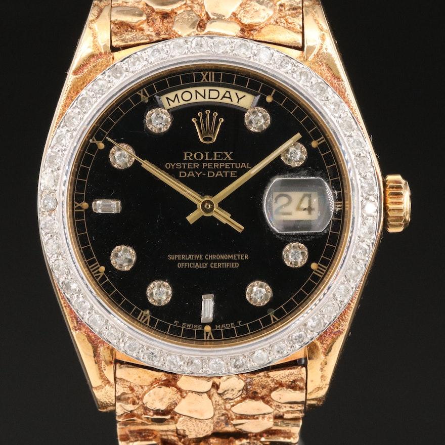 1979 Rolex 18K Yellow Gold 1.15 CTW Diamond Day-Date Wristwatch