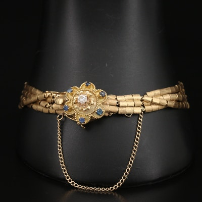 Vintage 14K Multi-Strand Bracelet with 18K Diamond and Sapphire Flower Clasp