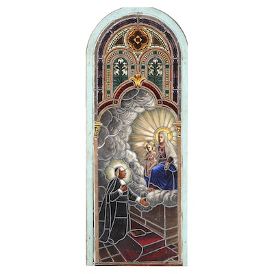 Painted Stained Glass Leaded Church Window, Late 19th/Early 20th C