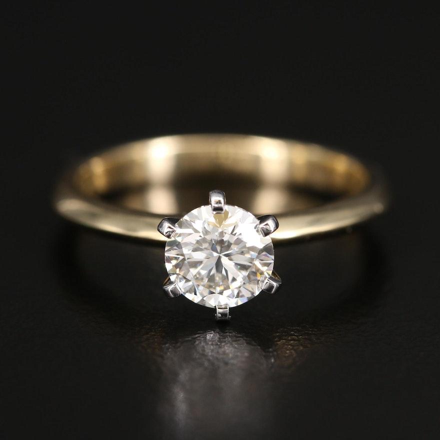 18K 0.93 CT Diamond Solitaire Ring