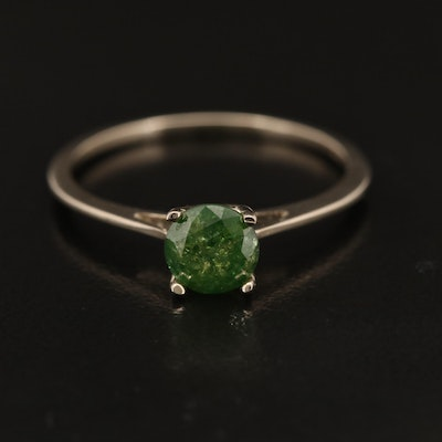 14K 0.67 CT Green Diamond Solitaire Ring