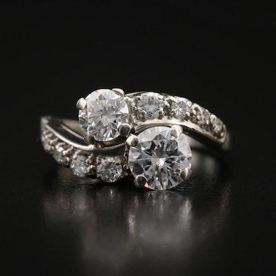 Vintage 18K 1.33 CTW Diamond Bypass Ring