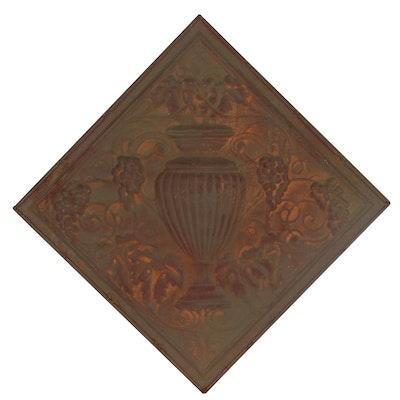 Embossed Tin Panel of Urn, 20th Century
