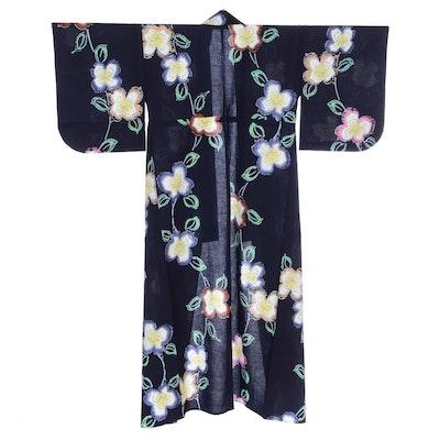 Navy Linen Yukata in Large Floral Pattern, Shōwa Period