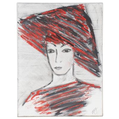 Magdalena Halikotic Abstract Portrait Acrylic Painting, 21st Century