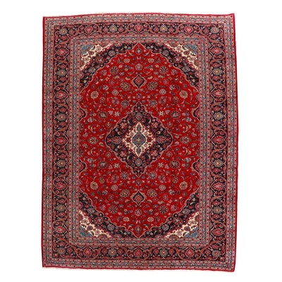 9'6 x 12'6 Hand-Knotted Persian Kashan Room Sized Rug