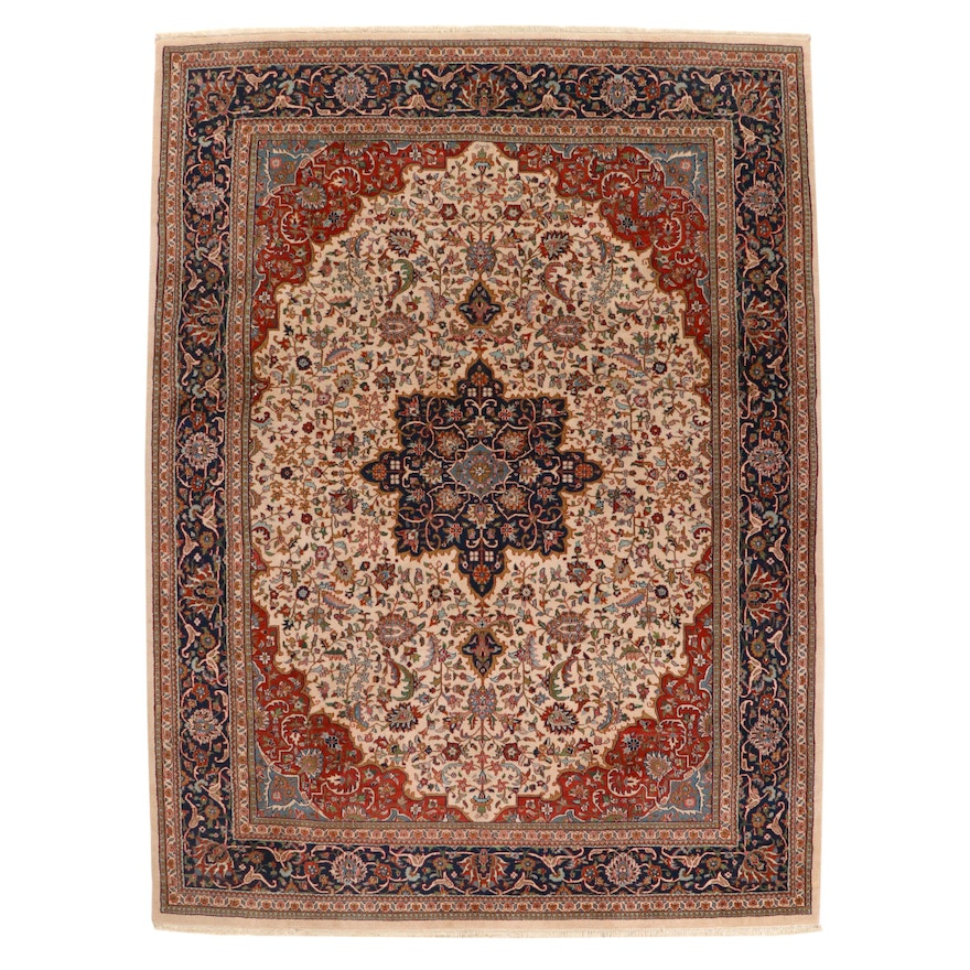 9'2 x 12'6 Hand-Knotted Persian Isfahan Room Sized Rug