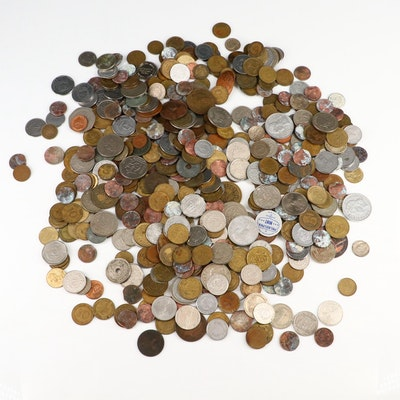 Approximately 500 Foreign Coins and Tokens