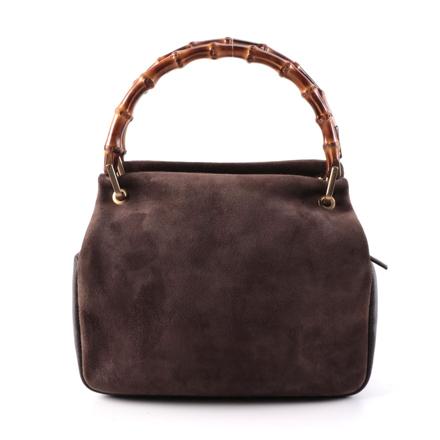 Gucci Bamboo Handle Mini Tote in Brown Suede and Leather