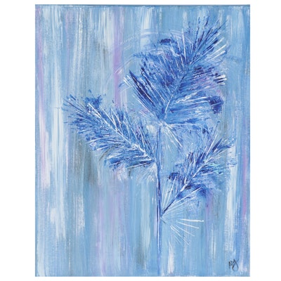 Magdalena Halikotic Abstract Floral Acrylic Painting, 21st Century