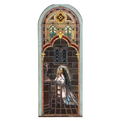 Painted and Stained Leaded Glass Church Window, Late 19th/Early 20th Century