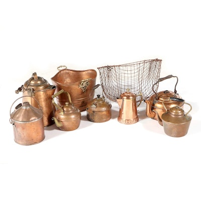 Copper Coffee Pot, with Other Kettles, Bucket and Basket
