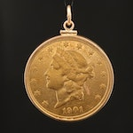 10K Pendant with 1901-S Liberty Head $20 Gold Double Eagle Coin