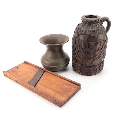 T&D Mfg. Co. Wooden Cabbage Slicer with Bronze Spittoon and Wicker Wrapped Jug