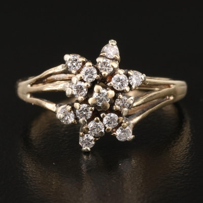 14K Diamond Cluster Ring with Split Shoulders