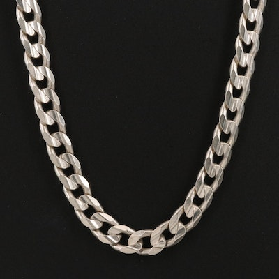 Milor Italian Sterling Silver Curb Link Necklace