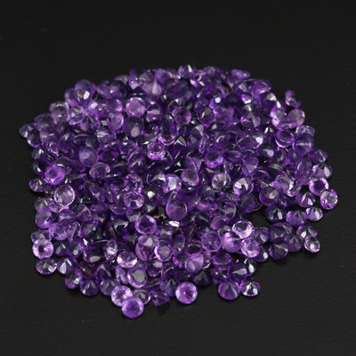 Loose 110.22 CTW Round Faceted Amethysts