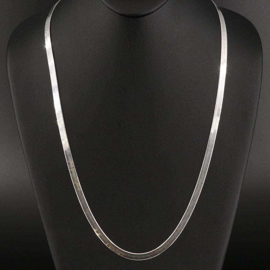 Milor Italian Sterling Silver Herringbone Chain Necklace