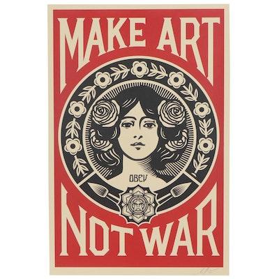 """Shepard Fairey Offset Print """" Make Art Not War,"""" 2018"""
