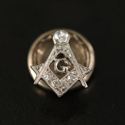 Platinum Diamond Mason Pin