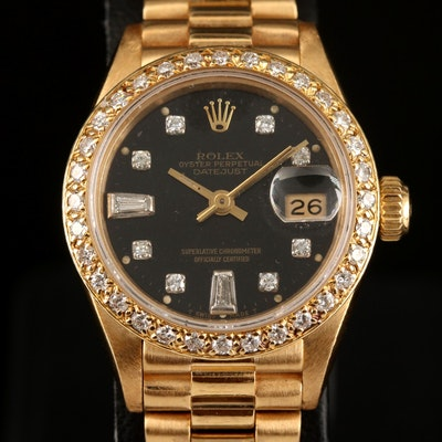 1986 Rolex Datejust Diamond and 18K Gold Wristwatch