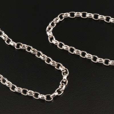 Sterling Silver Rolo Link Chain Necklaces
