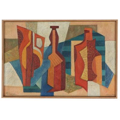 """Robert Szesko Modernist Style Still Life Oil Painting """"Bottles,"""" 1971"""