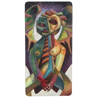"Robert Szesko Acrylic Painting ""Nuclear Angel,"" 1983"