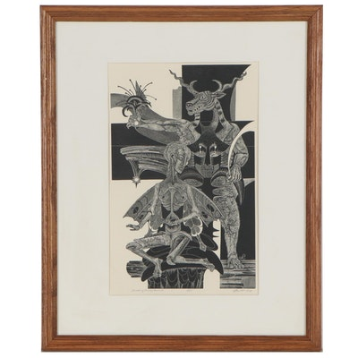 """Lenore Szesko Wood Engraving """"Something for my Funeral,"""" Late 20th Century"""