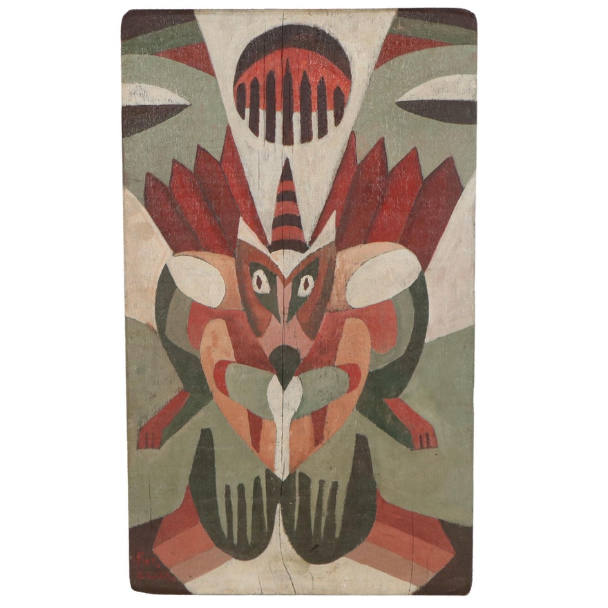 Robert Szesko Abstract Oil Painting on Wood, Late 20th Century