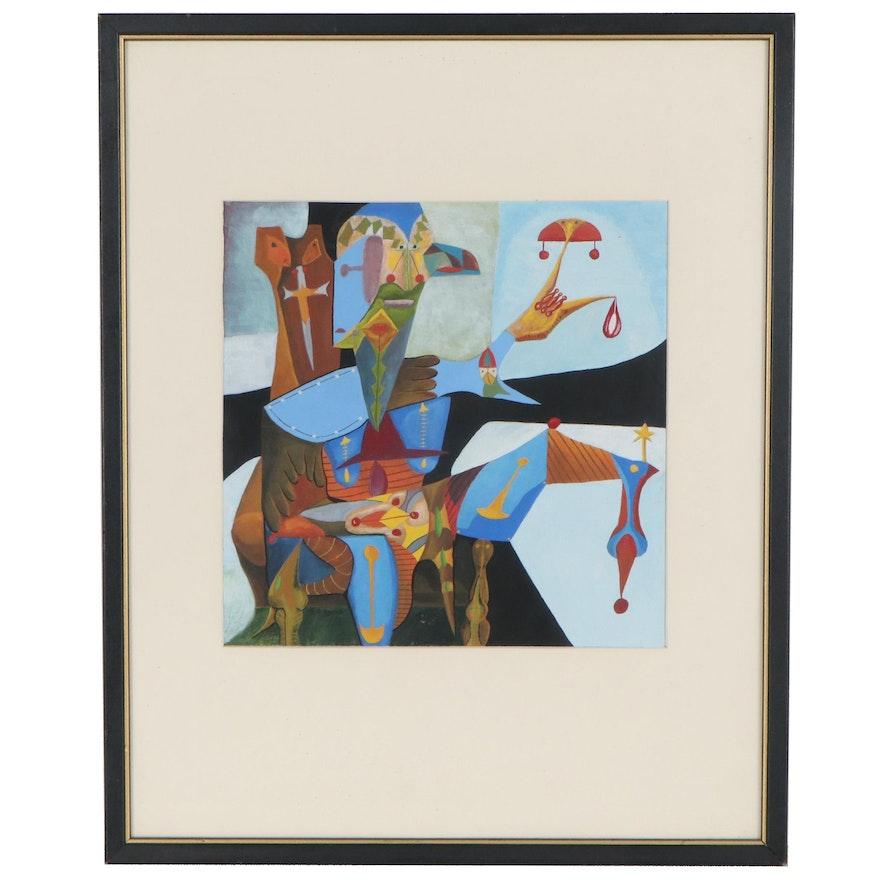 Robert Szesko Cubist Watercolor Painting of Jester, Late 20th Century