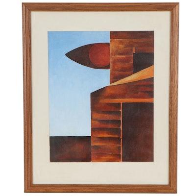 "Robert Szesko Abstract Acrylic Painting ""Outland,"" Late 20th Century"