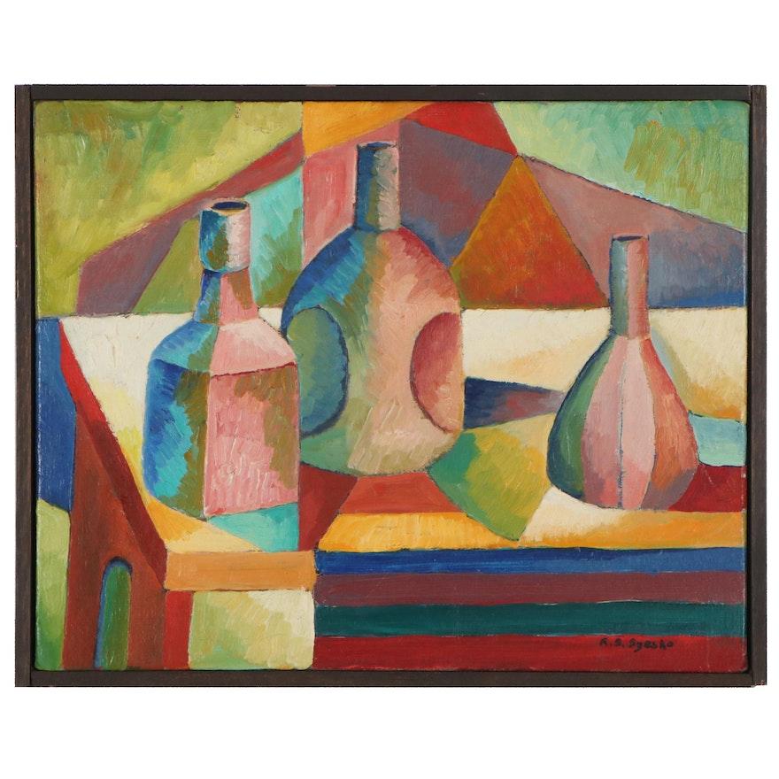 Robert Szesko Modernist Still Life Oil Painting, Late 20th Century