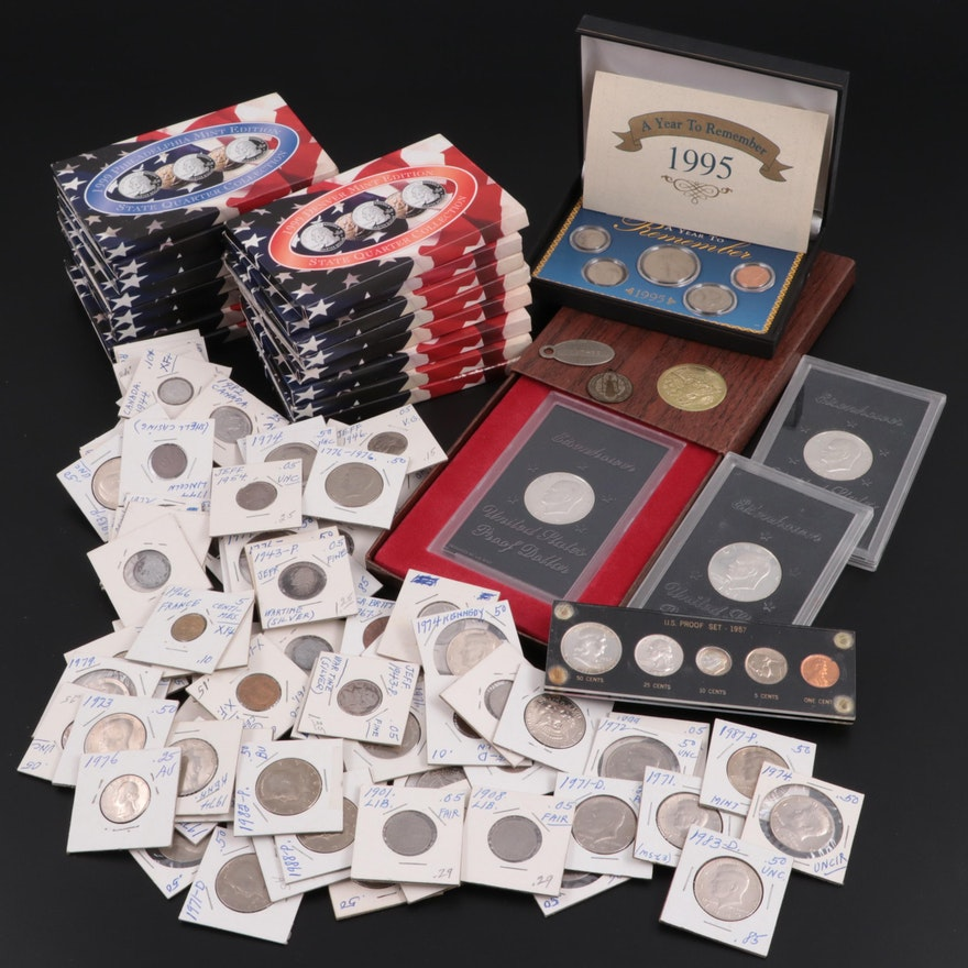 Large Assortment of Statehood Quarter Sets and Other Coinage, Including Silver