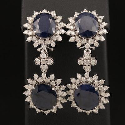 14K Sapphire and 3.95 CTW Diamond Earrings