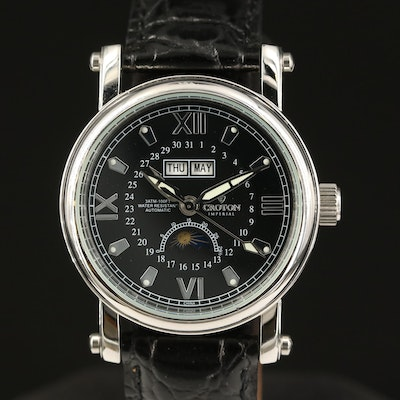 Croton Imperial Triple Calendar Stainless Steel Automatic Wristwatch